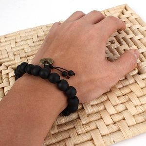 Lucky Black Wood Beads Buddhist Prayer Bracelet